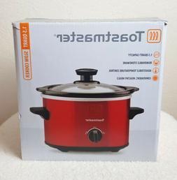 Toastmaster 1.5 Quart Red Slow Cooker Adjustable Temp Remova