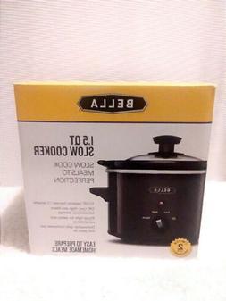 BELLA 1.5 Quart Slow Cooker Dishwasher Safe Stone Pot & Glas