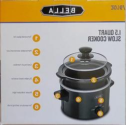 BELLA 1.5 Slow Cooker: Stoneware Pot & Lid For Serving 1-2 P