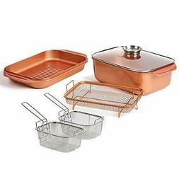 12 QT 14 In 1 Multi-Use Copper Chef Wonder Cooker with roast