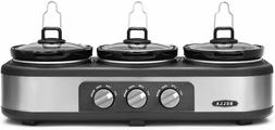 BELLA 14484  Triple Slow Cooker with Lid Rests, Stoneware Po