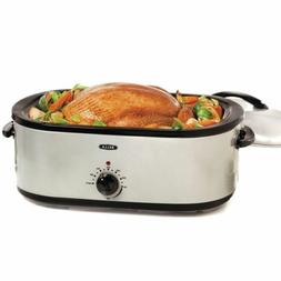 BELLA 18 Quart Turkey Roaster Oven with Roasting Rack Silver