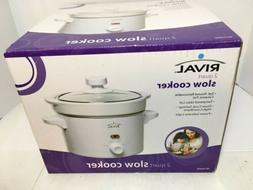 Rival 2 Quart Slow Cooker Ceramic Tempered Glass Lid Nee