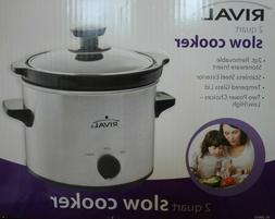 Rival 2 Quart Slow Cooker, Stainless Steel Exterior, SC-200S