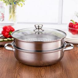 2 Tier 27cm Stainless Steel Food Steamer Pot Pan Vegetable C