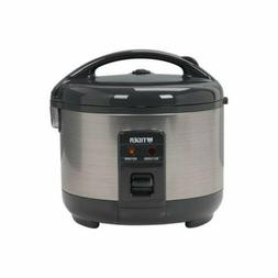 Tiger 3 Cups Rice Cooker and Warmer, Stainless Steel Gray JN