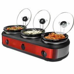 New 3 Pot Triple Crock Slow Cooker Red 2.5 Qt. Buffet Warmer