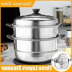 3 Tier Layer Stainless Steel Steamer Set Pan Soup Pot Steam