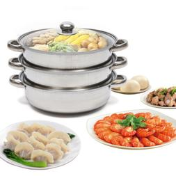 Kitchen 3 Tier Stainless Steel Steamer Cooker Meat Vegetable
