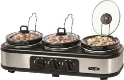 Bella - 3 x 1.5-Quart Triple Slow Cooker - Stainless Steel/B