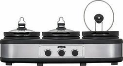 Bella - 3 x 2.5-Quart Triple Slow Cooker - Stainless Steel/B