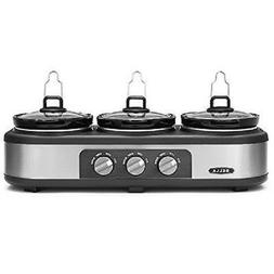 Bella 3 x 2.5-Quart Triple Slow Cooker Stainless Steel/Black