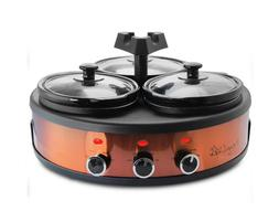 4.5 qt. copper slow cooker with 3 crocks and keep warm setti