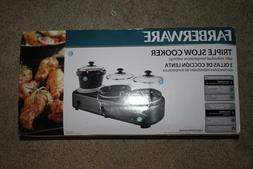 4.5 Quarts Triple Slow Cooker W/ Removable Pots & Lids Durab