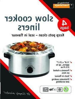"4 Crock Pot Slow Cooker Liners bags 11.8"" x 21.7"" approx"