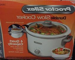 Proctor silex 4 quart slow cooker. In white color.