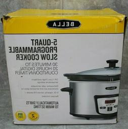 Bella 5 Qt. Programmable Polished Stainless Steel Slow Cooke