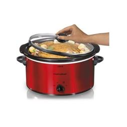 5 Qt Red Portable Kitchen Slow Cooker Keep Warm Setting Spil