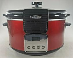 BELLA 5 Quart LINEA Programmable Locking Lid Slow Cooker, Co