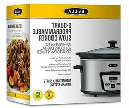 BELLA 5 QUART PROGRAMMABLE SLOW COOKER MODEL # 1902 BRUSHED