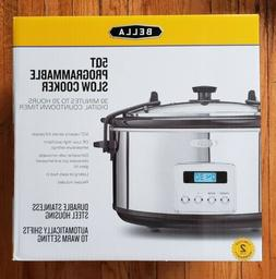 Bella 5 Quart Programmable Slow Cooker Stainless Steel Auto