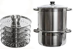 5 Tier/Level 20 qt Uzbek 18/10 Stainless Steel Steamer Cooke