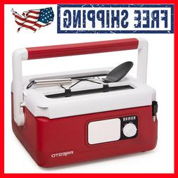6 Qt. Nomad-Traveling Red Insulated Slow Cooker With Locking