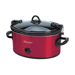 6 Qt. Red Stainless Steel Slow Cooker With Glass Lid And Kee