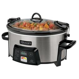 6-Quart Digital Slow Cooker Portable Cook and Carry Pot with