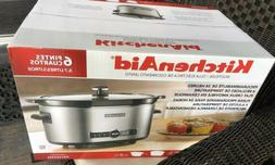 KitchenAid 6 Quart Programmable Crock Pot Slow Cooker Solid