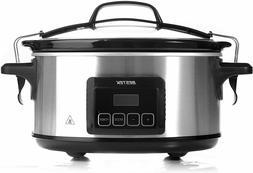BESTEK 6 Quart Slow Cookers Programmable Digital Timer Pot w