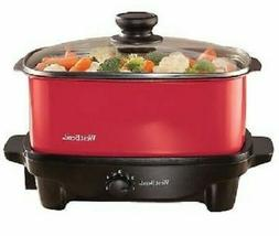 West Bend 84915R Versatility 5 Quart Slow Cooker Red Nonstic