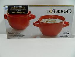 Crock Pot Orange Ceramic Soup Bowls 22 Oz Set of 2 Savory Si