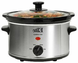 Elite Gourmet - 2-quart Oval Slow Cooker - Stainless Steel