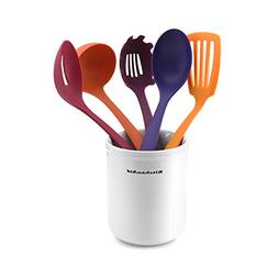 Kitchenaid 5-Piece Kitchen Tool Set with Crock, Flame