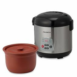 Vitaclay - 3.2-quart Rice Cooker/slow Cooker - Silver/black