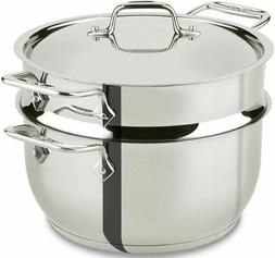 All-Clad E414S564 Stainless Steel Steamer Cookware, 5-Quart,