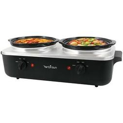NutriChef AZPKBFWM26 Dual Pot Electric Slow Cooker/Warmer, 1