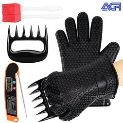 Woage BBQ Tools Set, 2 Silicone Oven Glove, 1 Heat Resistant