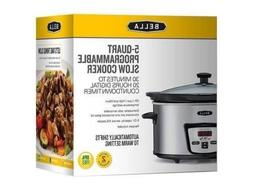 Bella 13973 5 Quarts  Programmable Slow Cooker, Stainless St