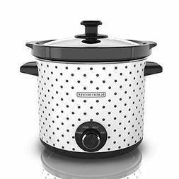 Black & Decker SC1004D Slow Cooker, 4 Quart, Black/White
