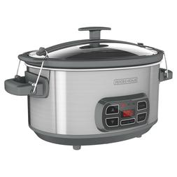 BLACK+DECKER 7qt Locking Lid Digital Slow Cooker - Silver SC
