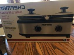 Brand New In Box Chefman Double Slow Cooker Crockpot Crock-p