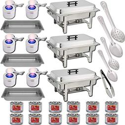 Chafing Dish Buffet Set w/Fuel — Water Pans + Food Pans 8q