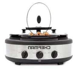 Chefman Triple Slow Cooker & Buffet Server with 3 Removable