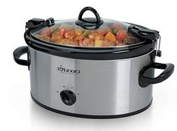 Crock Pot Slow Cooker 6 Quart Stainless Steel Cook & Carry M
