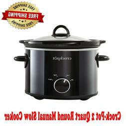 Crock-Pot 2 Quart Round Manual Slow Cooker, Black, Low and H