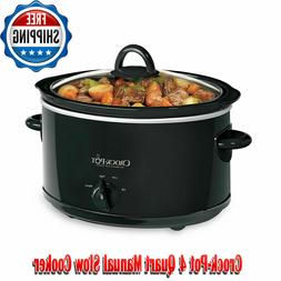 Crock-Pot 4 Quart Manual Slow Cooker, Black, Small Kitchen A