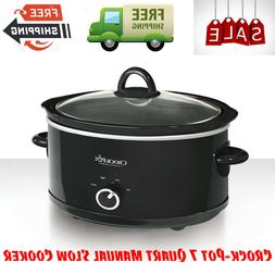 Crock-Pot 7 Quart Manual Slow Cooker, Black, Serves 8+ Peopl