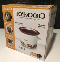 Crock-Pot Classic White 3 qt Slow Cooker Red Removable Stone